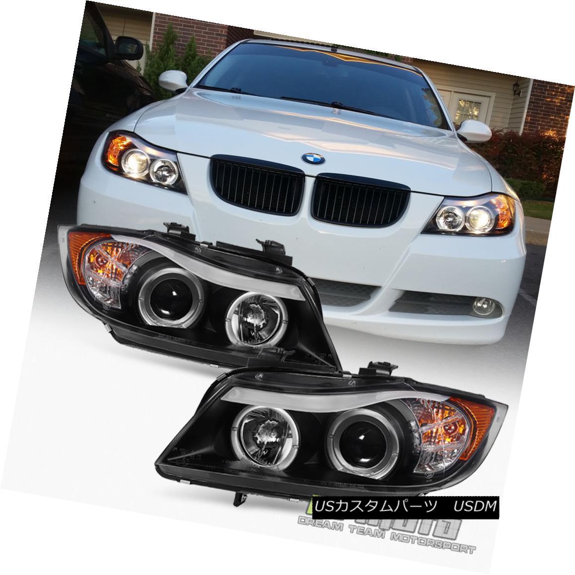 ヘッドライト Blk 2006 2007 2008 BMW E90 3-Series Sedan LED Eye Lid Halo Projector Headlights Blk 2006 2007 2008 BMW E90 3シリーズセダンLEDアイリッドハロープロジェクターヘッドライト