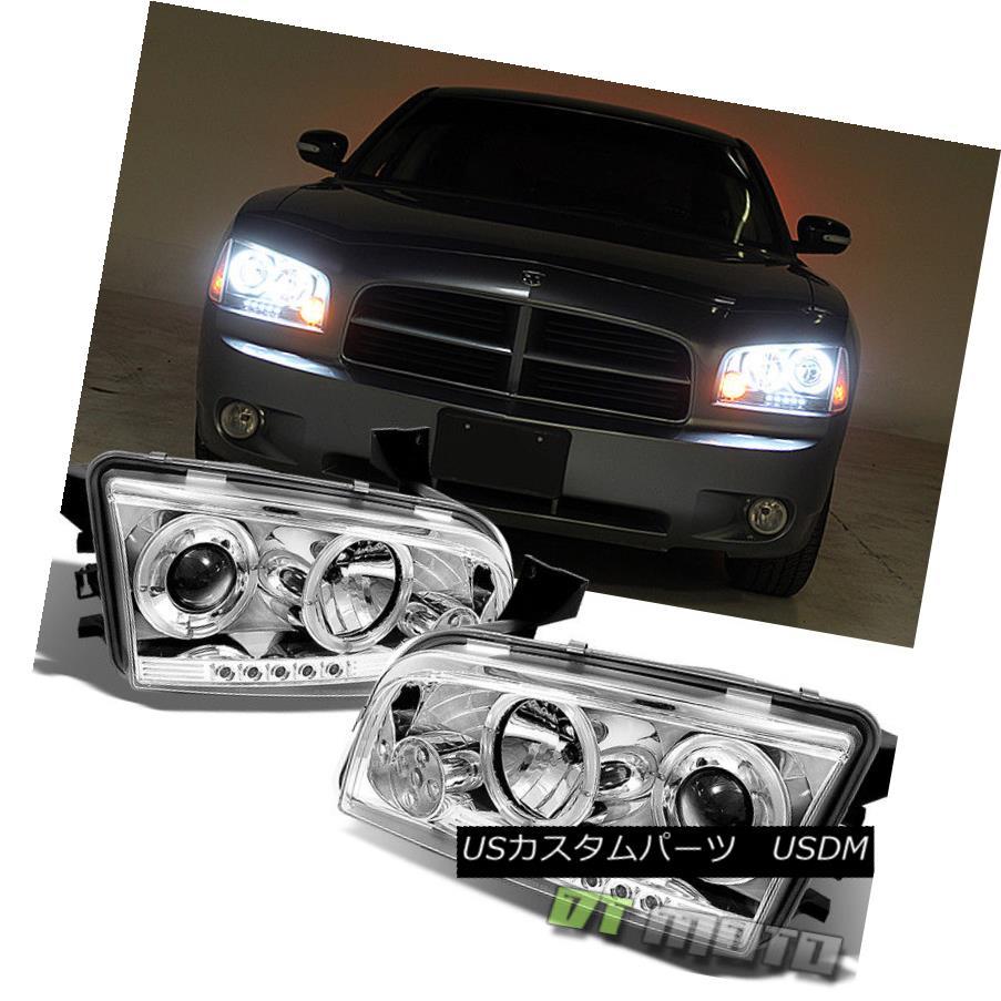 ヘッドライト 06-10 Dodge Charger Dual Halo Projector Led Headlights Lamps Lights Left+Right 06-10 Dodge ChargerデュアルヘイロープロジェクターLedヘッドライトランプLeft + Rightライト
