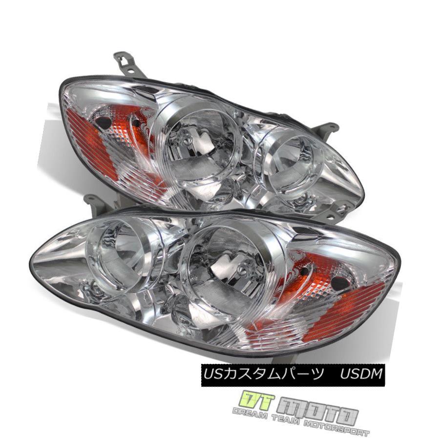 ヘッドライト 2003-2008 Toyota Corolla Replacement Headlights Amber Signal Lamps Left+Right 2003年 - 2008年トヨタカローラ交換ヘッドランプ黄色の信号ランプ左+右