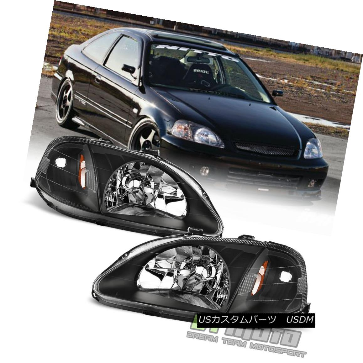 ヘッドライト For 1999-2000 Honda Civic 2/3/4Dr JDM Style Blk Headlights Headlamps Left+Right 1999-2000 Honda Civic 2/3 / 4Dr JDMスタイルBlkヘッドライトヘッドランプ左+右