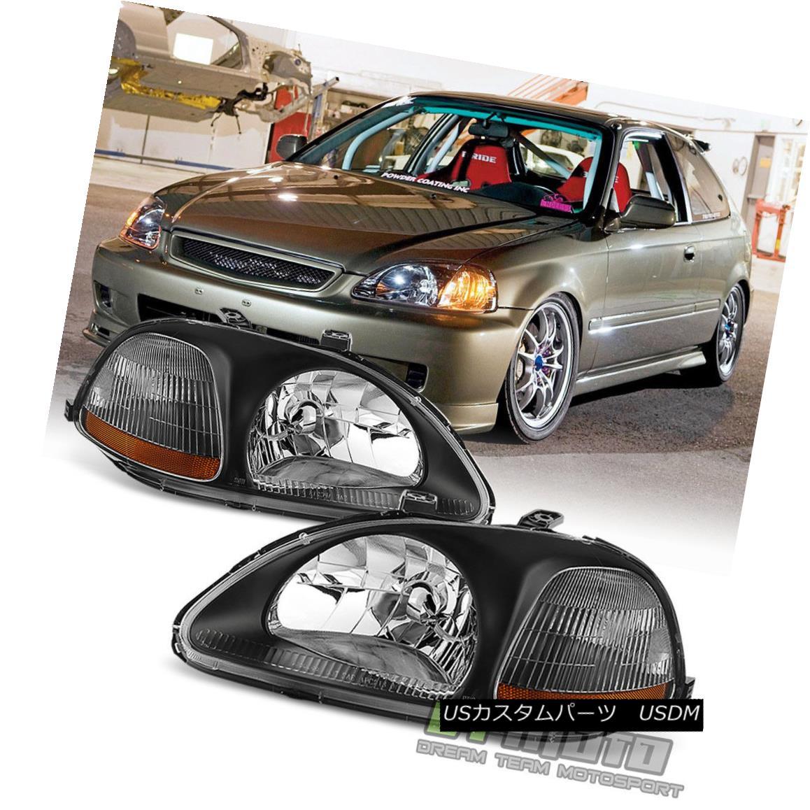 ヘッドライト For Black 96-98 Honda Civic DX EX LX Headlights Headlamps Replacement Left+Right ブラック96-98用ホンダシビックDX EX LXヘッドライトヘッドライト交換左+右