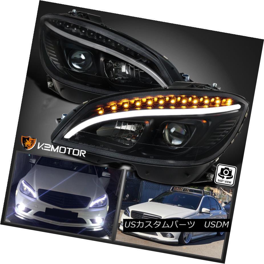 ヘッドライト 2008-2011 Benz W204 C-Class Black DRL Strip LED Signal Projector Headlights Pair 2008-2011ベンツW204 CクラスブラックDRLストリップLEDシグナルプロジェクターヘッドライトペア