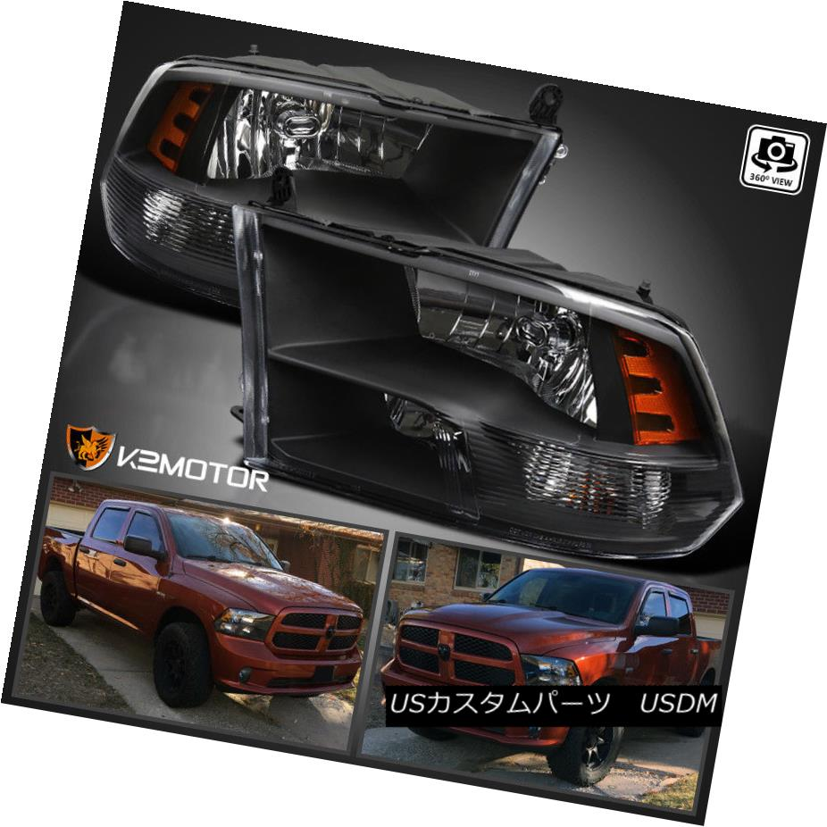ヘッドライト 2009-2017 Dodge Ram 1500/2500/3500 Black Quad Headlights Lamps Left+Right 2009-2017 Dodge Ram 1500/2500/3500黒クワッドヘッドライトランプ左+右
