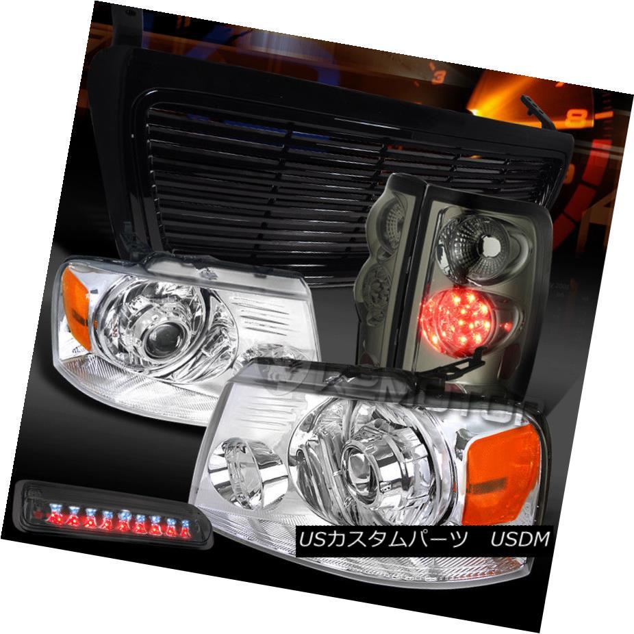 ヘッドライト 04-08 F150 Chrome Projector Headlights+Grille+Smoke LED Tail 3rd Brake Lamps 04-08 F150クロームプロジェクターヘッドライト+グリル lle +スモークLEDテール第3ブレーキランプ