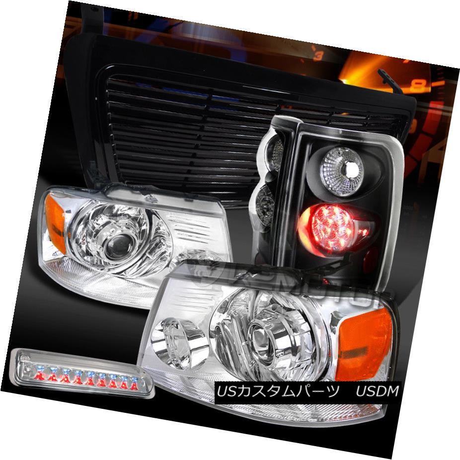 ヘッドライト 04-08 F150 Chrome Projector Headlights+3rd Brake+Black LED Tail Lamps+Grille 04-08 F150クロームプロジェクターヘッドライト+ 3番ブレーキ+ブラックLEDテールランプ+グリル