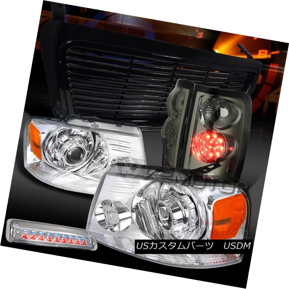 ヘッドライト 04-08 F150 Chrome Projector Headlights+Grille+3rd Brake+Smoke LED Tail Lamps 04-08 F150クロームプロジェクターヘッドライト+ Gri  lle + 3rdブレーキ+スモークLEDテールランプ