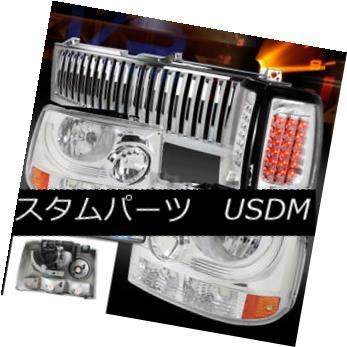ヘッドライト Chevy 99-02 Silverado Clear Headlights+LED Tail 3rd Brake Lamps+Hood Grille Chevy 99-02 Silveradoクリアヘッドライト+ LEDテール3rdブレーキランプ+フードグリル