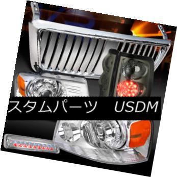 ヘッドライト 04-08 F150 Chrome Projector Headlights+Front Grille+3rd Stop+Smoke LED Tail Lamp 04-08 F150クロームプロジェクターヘッドライト+  ntグリル+ 3ストップ+スモークLEDテールランプ用