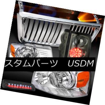 ヘッドライト 04-08 F150 Chrome Projector Headlights+Front Grille+Smoke LED Tail Brake Lamps 04-08 F150クロームプロジェクターヘッドライト+  ntグリル+スモークLEDテールブレーキランプ用