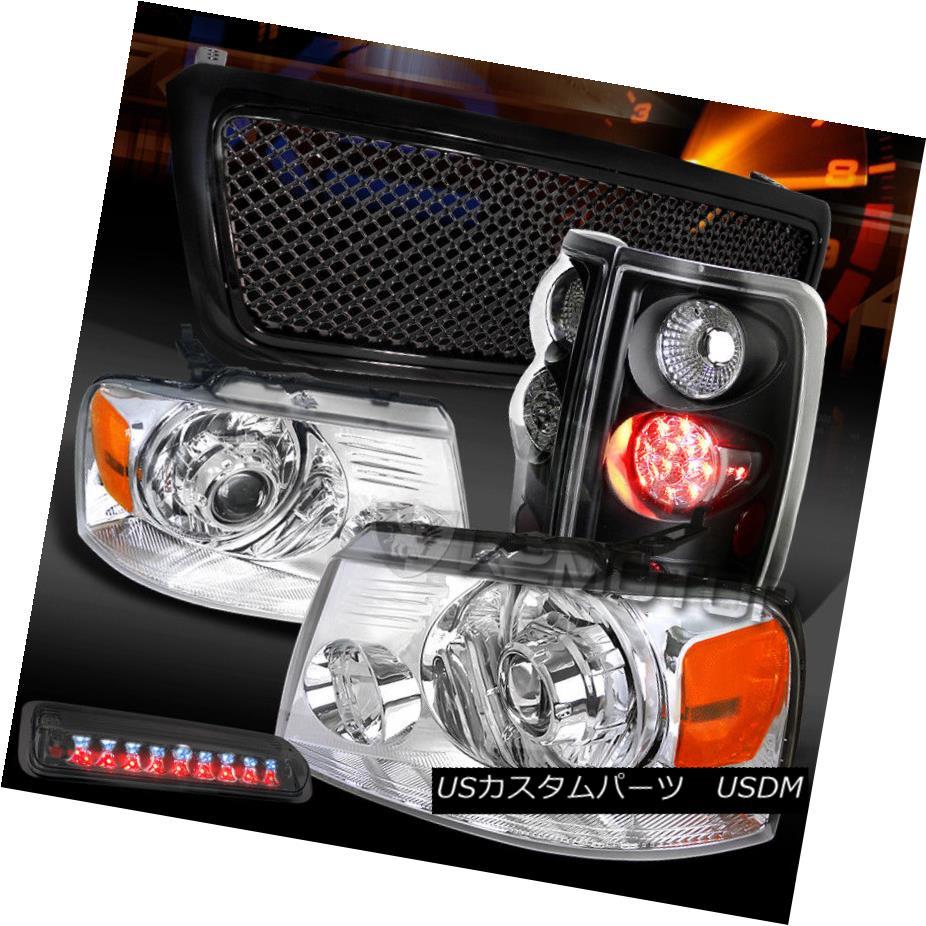 ヘッドライト 04-08 F150 Chrome Projector Headlight+Smoke 3rd Brake+Black Grille+LED Tail Lamp 04-08 F150クロームプロジェクターヘッドライト+スモーク e第3ブレーキ+ブラックグリル+ LEDテールランプ