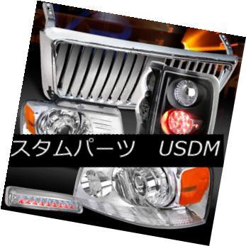 ヘッドライト 04-08 F150 Chrome Projector Headlight+Front Grille+3rd Stop+Black LED Tail Lamps 04-08 F150クロームプロジェクターヘッドライト+ Fron  tグリル+ 3ストップ+ブラックLEDテールランプ