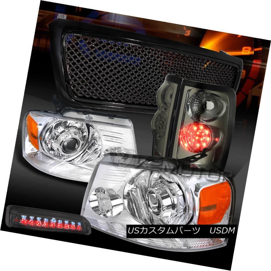 ヘッドライト 04-08 F150 Chrome Projector Headlights+3rd Brake+Black Grille+Tint LED Tail Lamp 04-08 F150クロームプロジェクターヘッドライト+ 3番ブレーキ+ブラックグリル+ティントLEDテールランプ