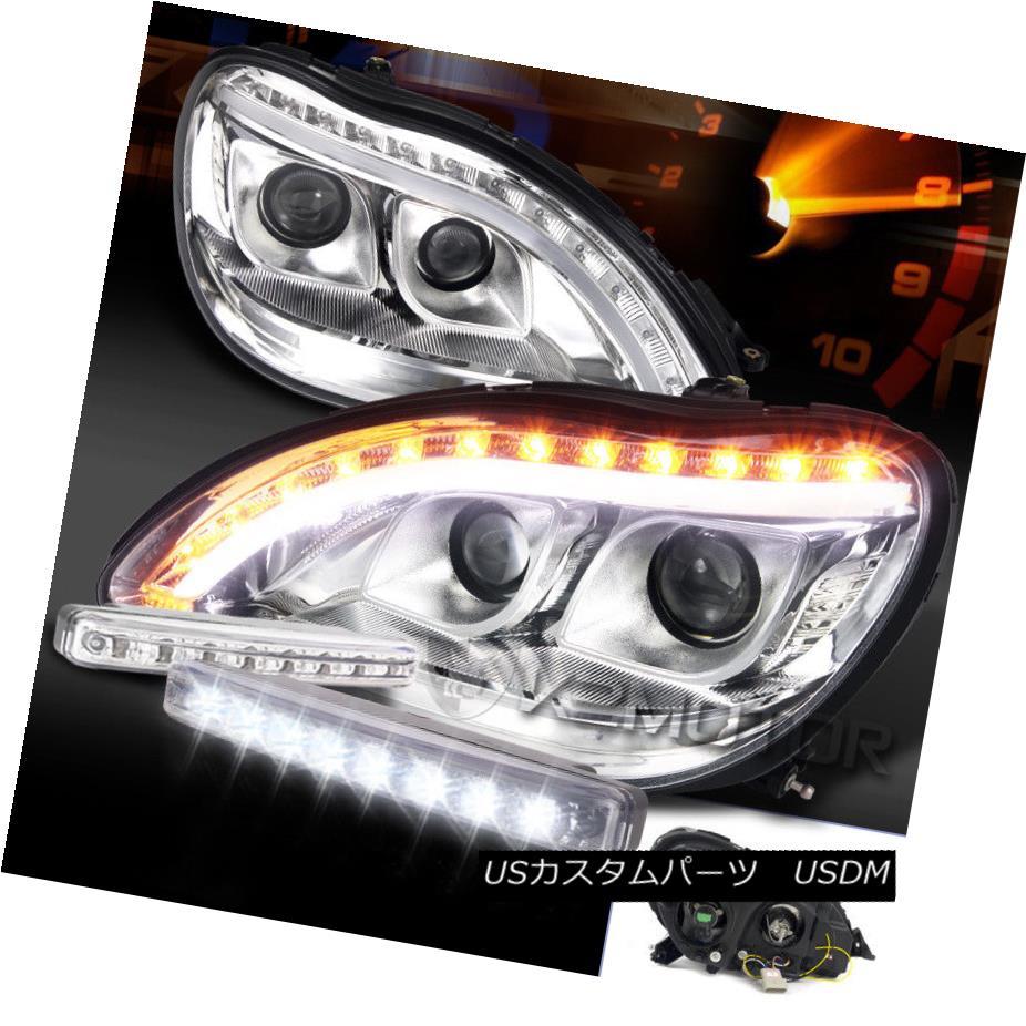 ヘッドライト 98-06 Benz W220 S-Class Chrome LED Signal Projector Headlights+LED DRL Fog Lamps 98-06ベンツW220 SクラスクロームLEDシグナルプロジェクターヘッドライト+ LED DRLフォグランプ