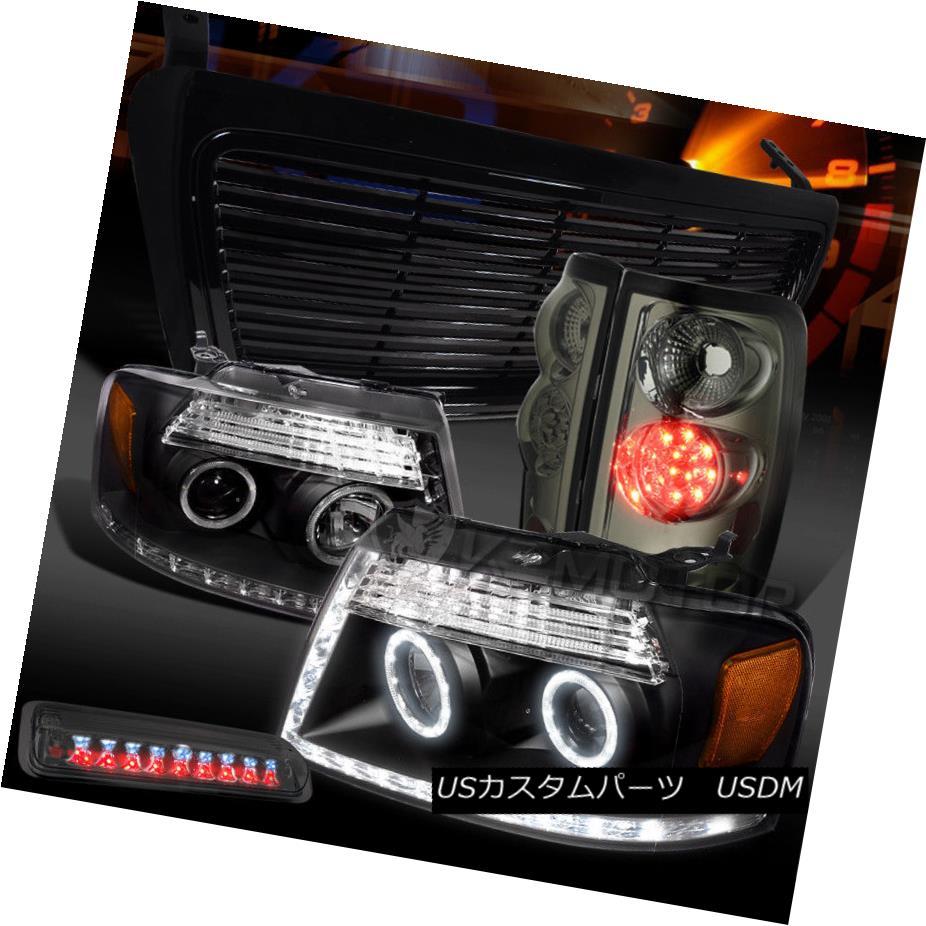 ヘッドライト 04-08 F150 Black LED Projector Headlights+Grille+Smoke LED Tail 3rd Brake Lamps 04-08 F150黒色LEDプロジェクターヘッドライト+グリル lle +スモークLEDテール第3ブレーキランプ