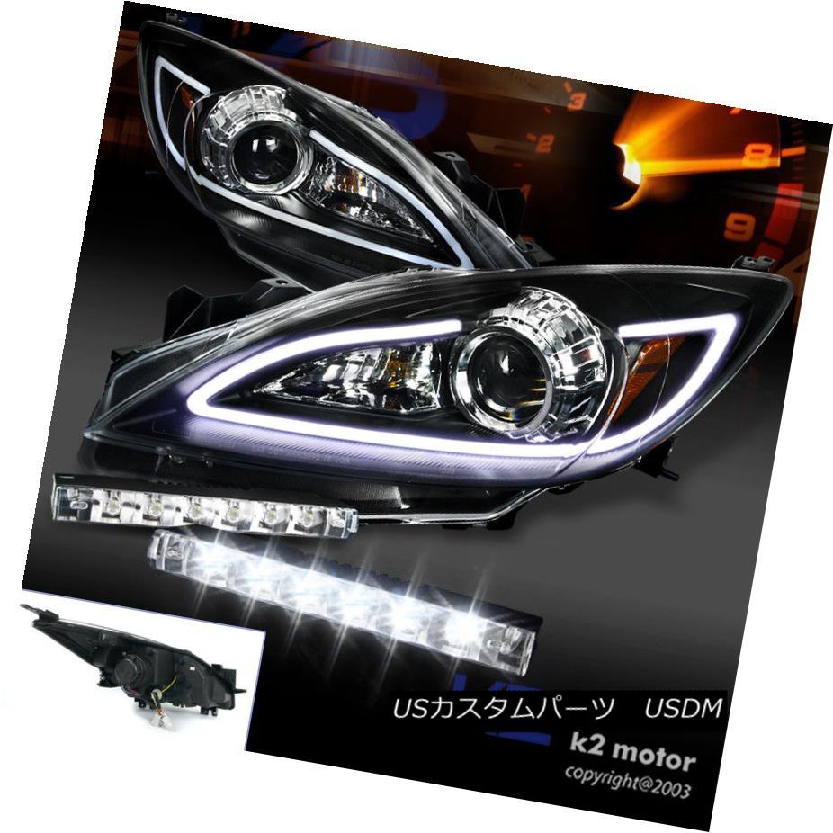 ヘッドライト 2010-2013 Mazda 3 JDM Black LED DRL Strip Projector Headlights w/ 6-LED Fog DRL 2010-2013マツダ3 JDMブラックLED DRLストリッププロジェクターヘッドライト(6-LEDフォグDRL付き)