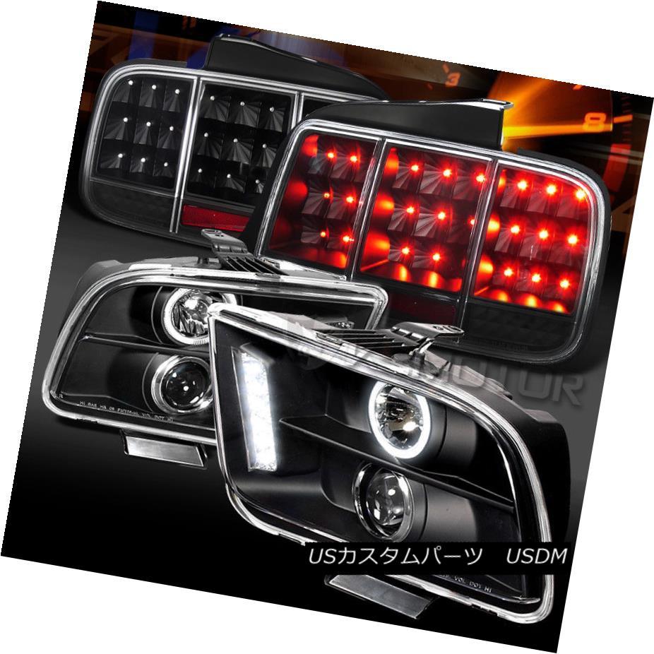 ヘッドライト 05-09 Mustang Black Halo Projector Headlights+Sequential LED Signal Tail Lamps 05-09 Mustang Black Haloプロジェクターヘッドライト+ Seq uential LEDシグナルテールランプ