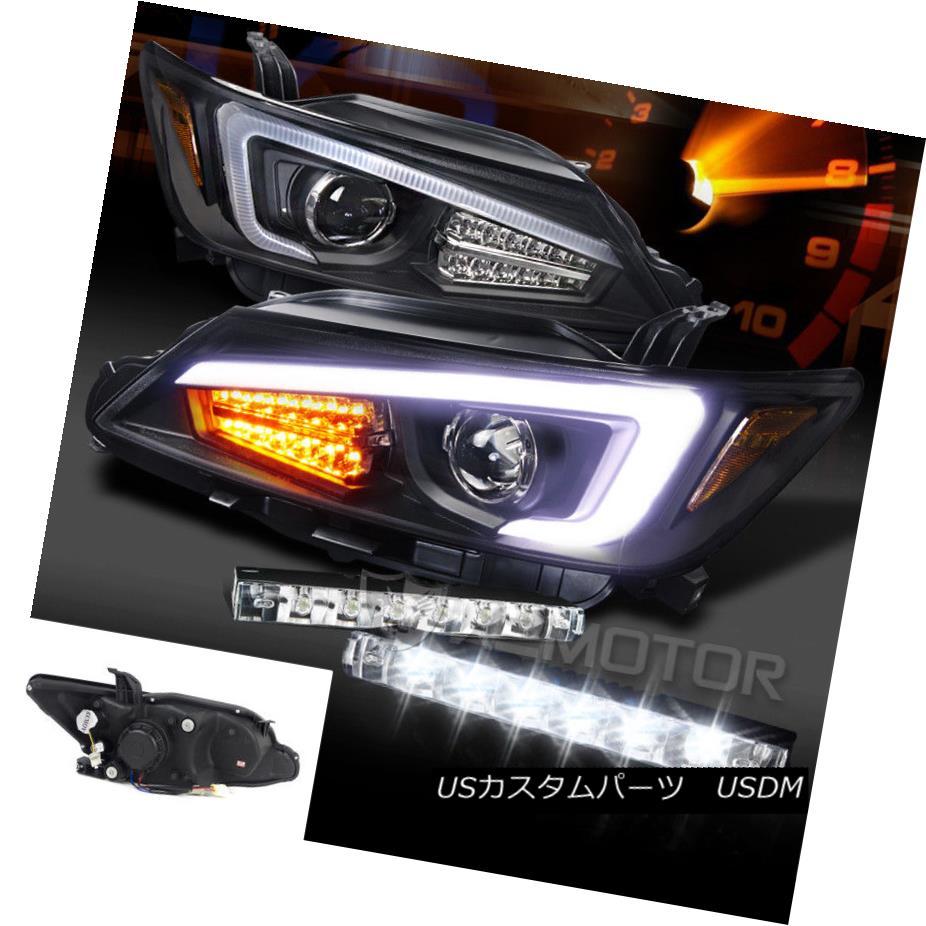 ヘッドライト 11-13 Scion tC Black LED Light Bar+Signal Projector Headlights+6-LED Bumper DRL 11-13 Scion tCブラックLEDライトバー+シグナルプロジェクターヘッドライト+ 6-L  EDバンパーDRL