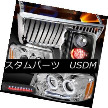 ヘッドライト 04-08 F150 Chrome Halo Headlights+Front Grille+Tint 3rd Stop+Black LED Tail Lamp 04-08 F150クロームハローヘッドライト+  ntグリル+ティント3ストップ+ブラックLEDテールランプ