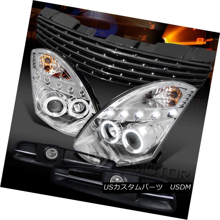 ヘッドライト Fit 03-05 G35 2DR Chrome Halo LED Projector Headlights+Grille+Fog Lamps フィット03-05 G35 2DRクロームハローLEDプロジェクターヘッドライト+グリップ lle +フォグランプ