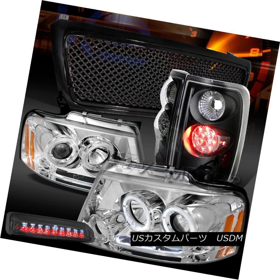 ヘッドライト 04-08 F150 Chrome LED Headlights+Smoke 3rd Stop+Black LED Tail Lamps+Mesh Grille 04-08 F150クロームLEDヘッドライト+スモーキー ke第3ストップ+ブラックLEDテールランプ+メッシュグリル