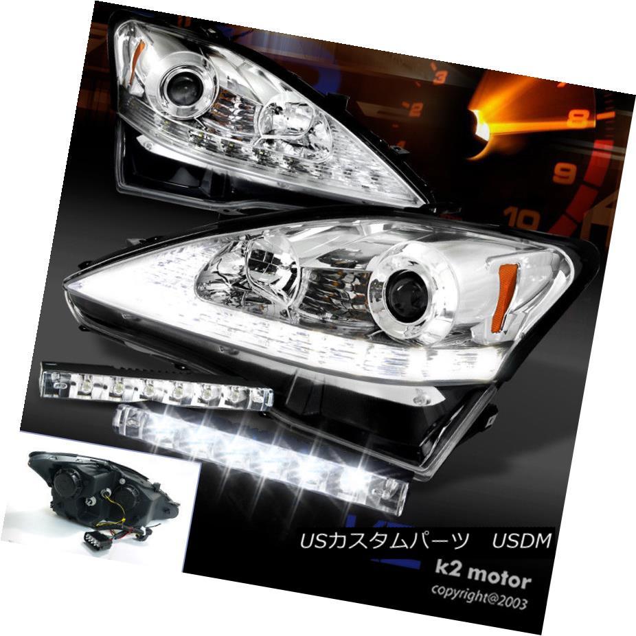 ヘッドライト 06-09 IS250 IS350 Chrome LED Turn Signal Strip Projector Headlight w/6-LED Fog 06-09 IS250 IS350クロームLEDターンシグナルストリッププロジェクターヘッドライト/ 6-LEDフォグ