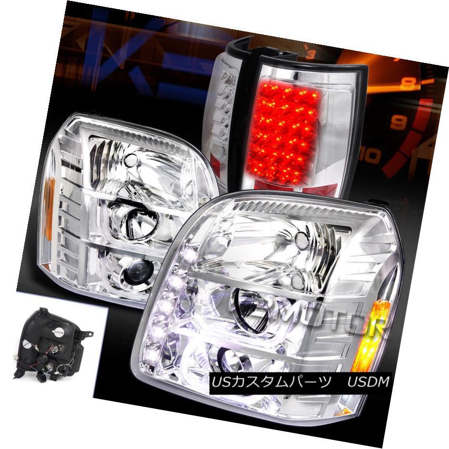 ヘッドライト 07-14 GMC Yukon XL Chrome Halo Projector Headlights+Clear LED Tail Lamps 07-14 GMC Yukon XLクロームハロープロジェクターヘッドライト+ Cle  ar LEDテールランプ