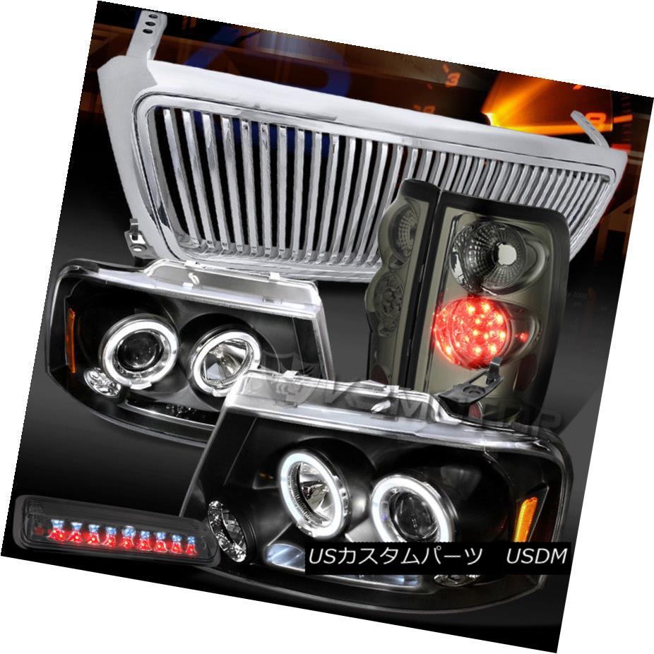 ヘッドライト 04-08 F150 Black Halo DRL Headlight+Chrome Grille+Tint LED Tail 3rd Stop Lamps 04-08 F150ブラックHalo DRLヘッドライト+クロ meグリル+ティントLEDテール第3ストップランプ