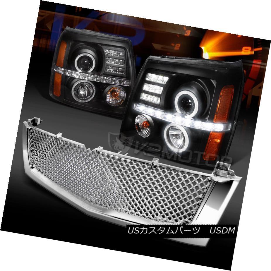 ヘッドライト 02-06 Cadillac Escalade Black LED Projector Headlights+Chrome ABS Hood Grille 02-06キャデラックエスカレードブラックLEDプロジェクターヘッドライト+ Chr  ome ABSフードグリル