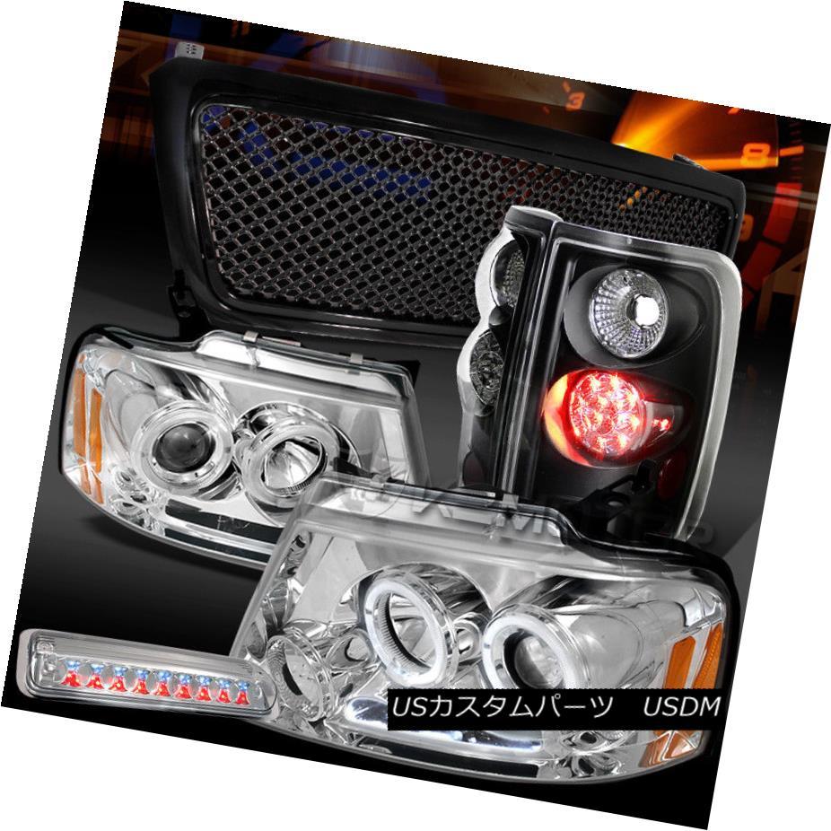 ヘッドライト 04-08 F150 Chrome LED Headlights+3rd Stop+Black LED Tail Lamps+Mesh Grille 04-08 F150クロームLEDヘッドライト+ 3ストップ+ブラックLEDテールランプ+メッシュグリル