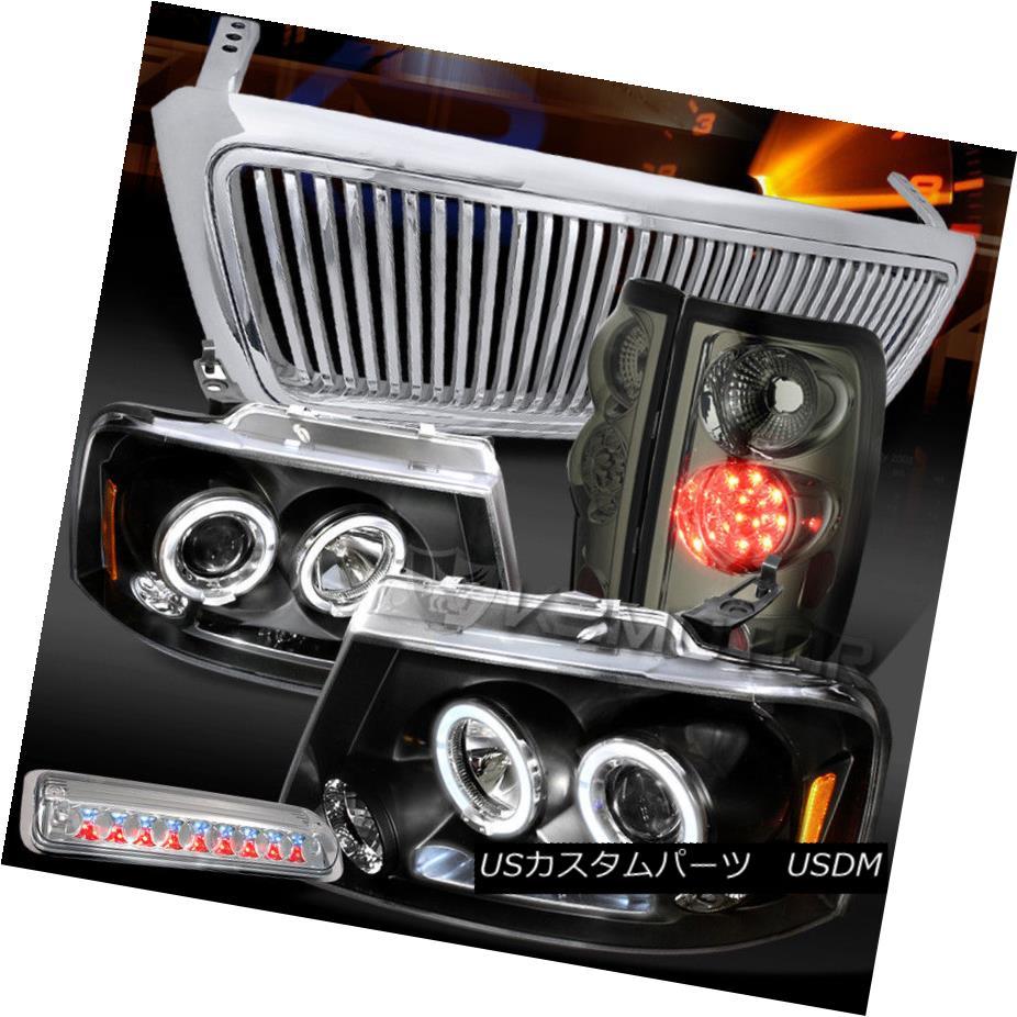 ヘッドライト 04-08 F150 Black Halo DRL Headlight+Chrome Grille+3rd Stop+Tint LED Tail Lamps 04-08 F150ブラックHalo DRLヘッドライト+クロ meグリル+ 3ストップ+ティントLEDテールランプ