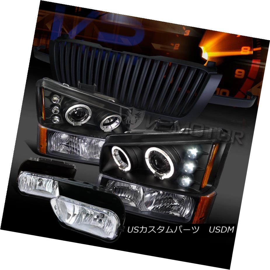 ヘッドライト 03-05 Silverado Black LED Projector Headlights+Clear Fog+Bumper Lights+Grille 03-05 Silverado Black LEDプロジェクターヘッドライト+ Cle  ar Fog + Bumper Lights + Grille