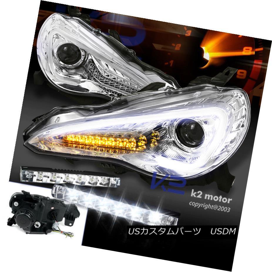 ヘッドライト For 12-17 Scion FR-S Toyota 86 Chrome Projector Headlights+LED Signal+Bumper DRL Scion FR-Sトヨタ86クロームプロジェクターヘッドライト+ LED信号+バンパーDRL