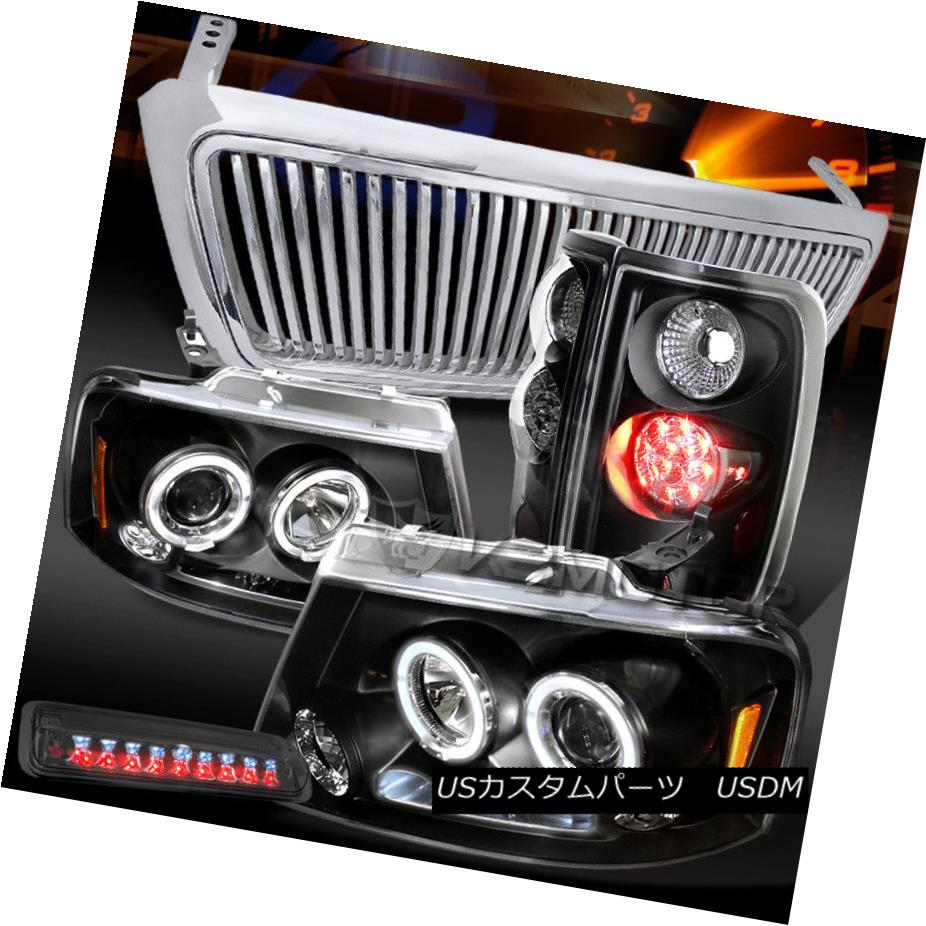 ヘッドライト 04-08 F150 LED Black Projector Headlights+LED Tail+Smoke 3rd Brake Light+Grille 04-08 F150 LEDプロジェクターヘッドライト+ LEDテール+煙第3ブレーキライト+グリル