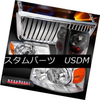 ヘッドライト 04-08 F150 Chrome Projector Headlights+Front Grille+Tint Tail LED 3rd Stop Lamps 04-08 F150クロームプロジェクターヘッドライト+  ntグリル+ティントテールLED第3ストップランプ