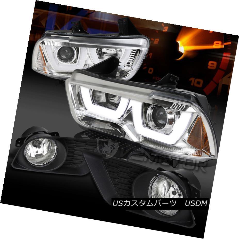 ヘッドライト 11-14 Charger Chrome Halo LED DRL Projector Headlights+Clear Fog Lamps+Switch 11-14 Charger Chrome Halo LED DRLプロジェクターヘッドライト+ Cle  arフォグランプ+スイッチ