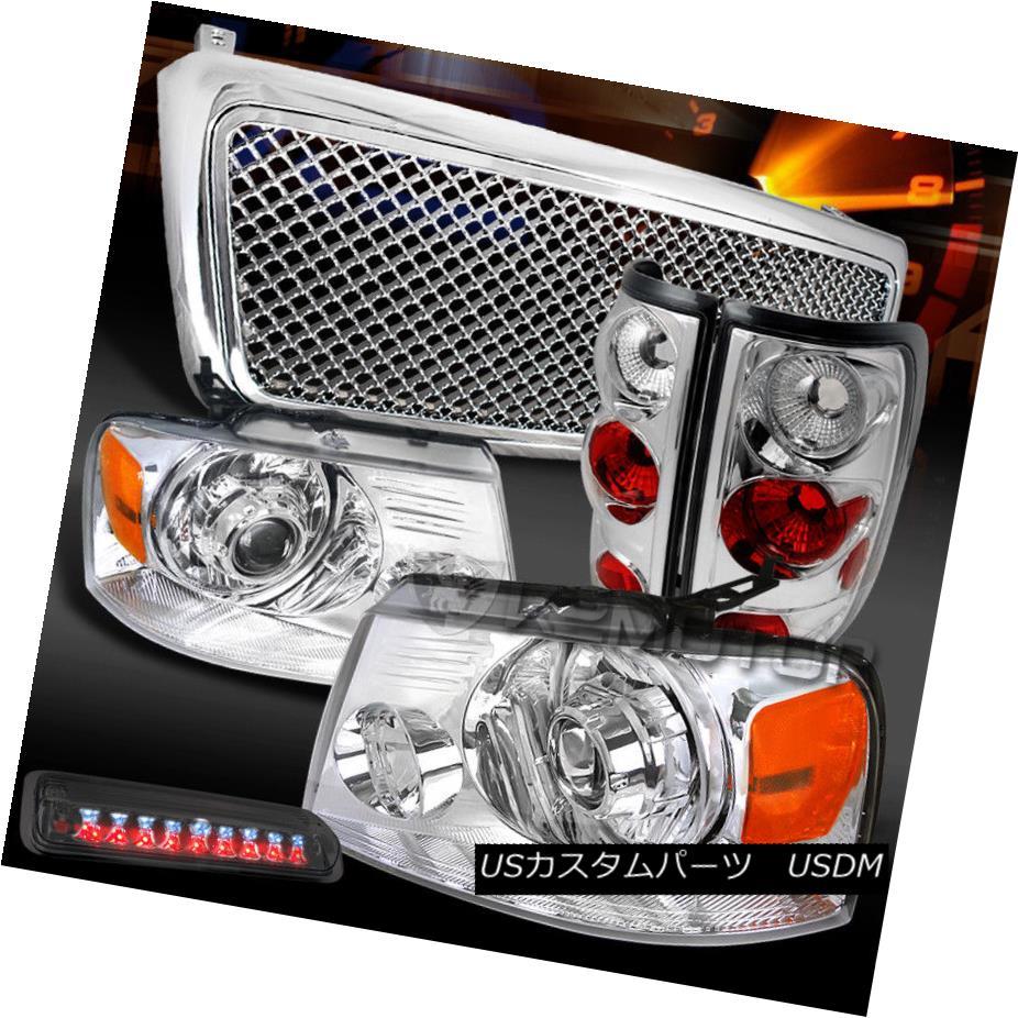 ヘッドライト 04-08 F150 Chrome Projector Headlights+Mesh Grille+Tail Lamps+Tint LED 3rd Brake 04-08 F150クロームプロジェクターヘッドライト+メス hグリル+テールランプ+ティントLED第3ブレーキ