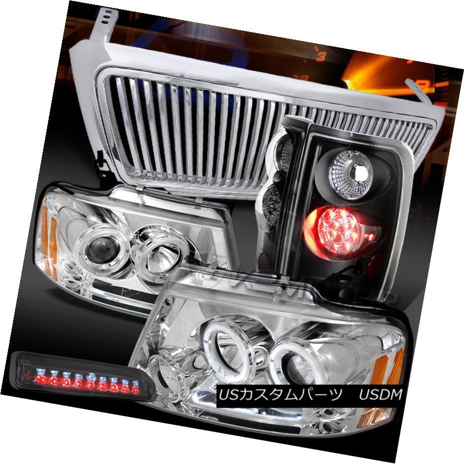 ヘッドライト 04-08 F150 LED Chrome Projector Headlights+LED Tail+Smoke 3rd Brake Light+Grille 04-08 F150 LEDプロジェクターヘッドライト+ LEDテール+煙第3ブレーキライト+グリル