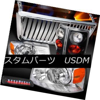 ヘッドライト 04-08 F150 Chrome Projector Headlight+Front Grille+Tint 3rd Stop+Black Tail Lamp 04-08 F150クロームプロジェクターヘッドライト+ Fron  tグリル+ティント3ストップ+ブラックテールランプ