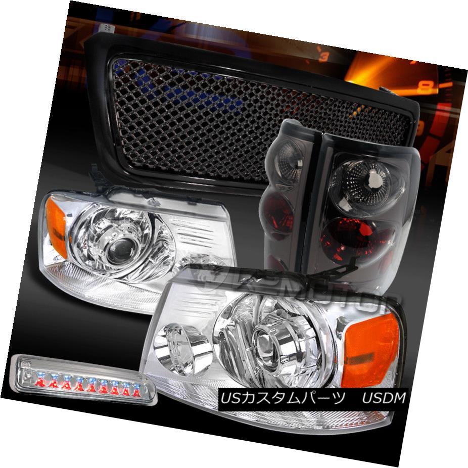 ヘッドライト 04-08 F150 Chrome Projector Headlights+LED 3rd Stop+Black Grille+Tint Tail Lamps 04-08 F150クロームプロジェクターヘッドライト+ LED第3ストップ+ブラックグリル+テントテールランプ