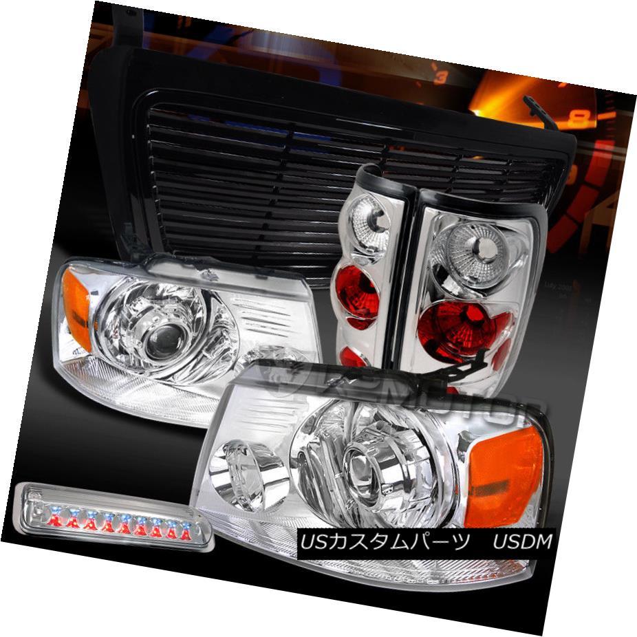 ヘッドライト 04-08 F150 Chrome Projector Headlights+Tail LED 3rd Brake Lamps+Black Grille 04-08 F150クロームプロジェクターヘッドライト+タイ l LED第3ブレーキランプ+ブラックグリル