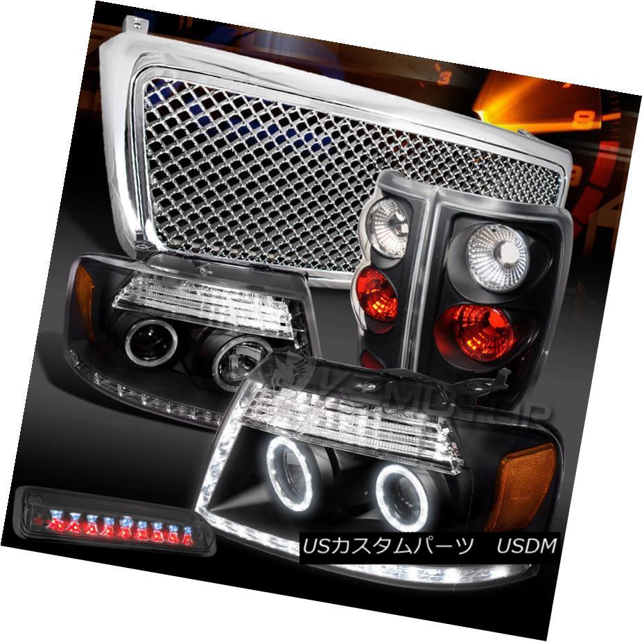 ヘッドライト 04-08 F150 Black LED DRL Headlights+Tail Lamps+Smoke LED 3rd Stop+Chrome Grille 04-08 F150ブラックLED DRLヘッドライト+タイ lランプ+スモークLED 3ストップ+クロームグリル