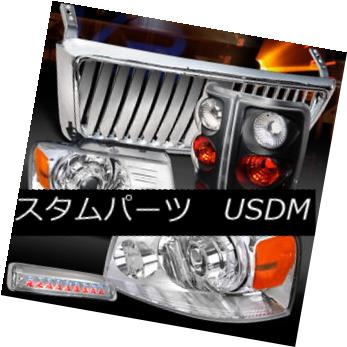 ヘッドライト 04-08 F150 Chrome Projector Headlight+Front Grille+LED 3rd Stop+Black Tail Lamps 04-08 F150クロームプロジェクターヘッドライト+ Fron  tグリル+ LED第3ストップ+ブラックテールランプ