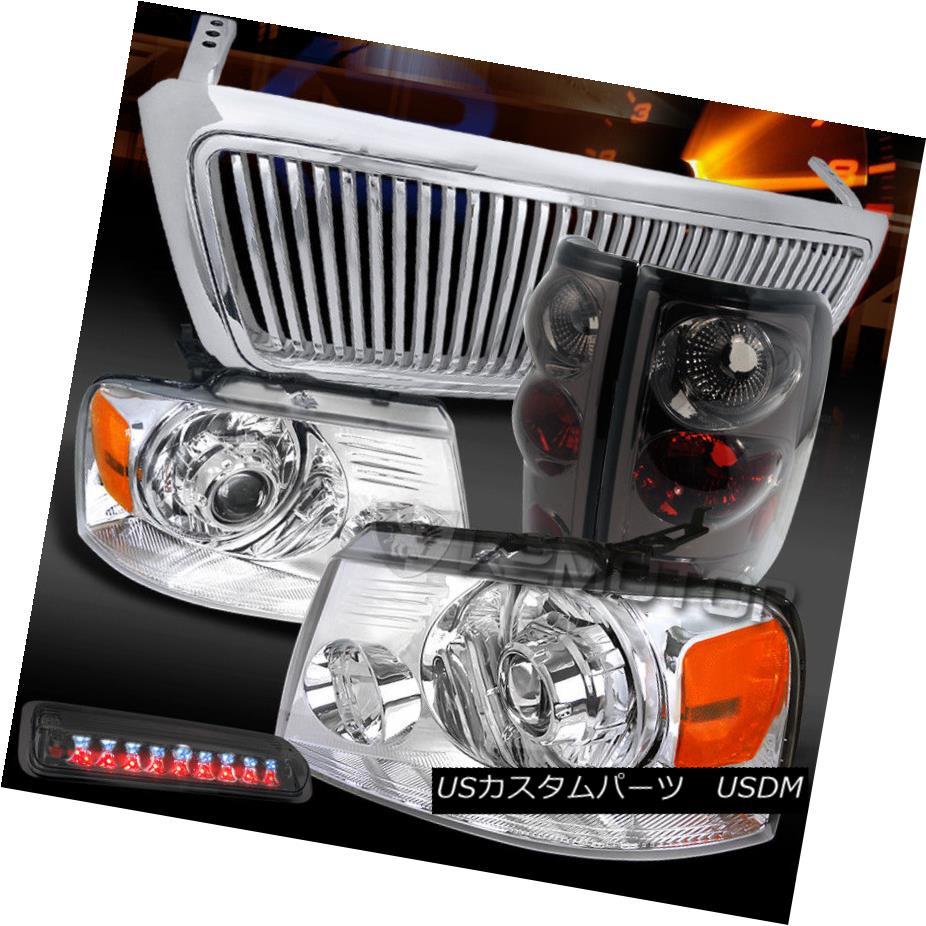 ヘッドライト 04-08 F150 Chrome LED Projector Headlights+Smoke Tail+LED 3rd Brake Light+Grille 04-08 F150クロームLEDプロジェクターヘッドライト+ Smo  keテール+ LED第3ブレーキライト+グリル
