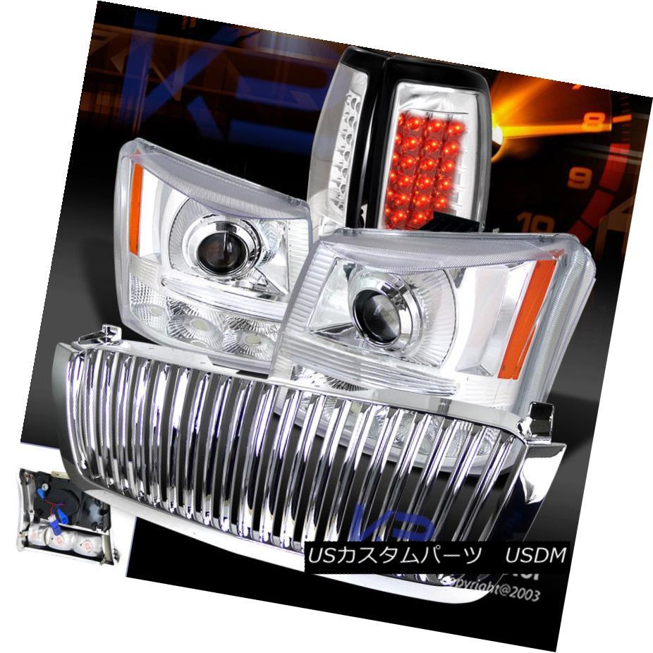 ヘッドライト 03-05 Silverado 1PC Chrome Projector Headlights+Bumper+Grille+LED Tail Light 03-05 Silverado 1PC Chromeプロジェクターヘッドライト+ブール +グリル+ LEDテールライト