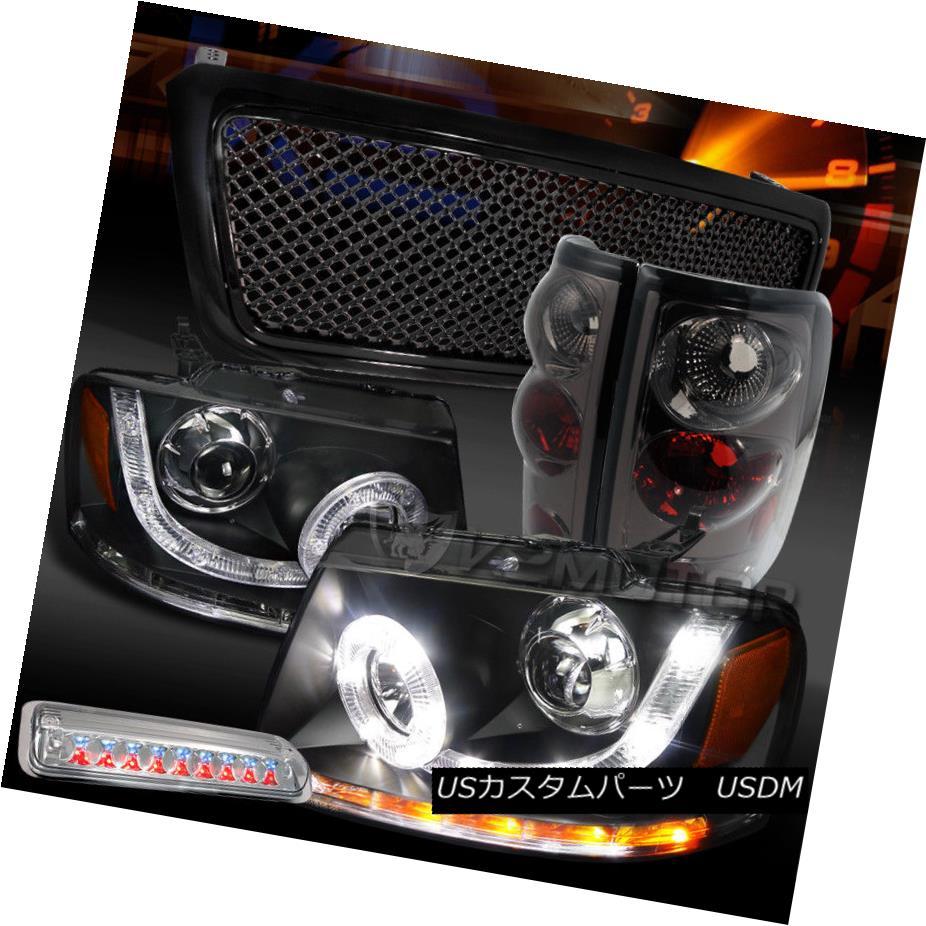 ヘッドライト 04-08 F150 Black SMD DRL Headlights+Mesh Grille+LED 3rd Stop+Tint Tail Lamps 04-08 F150ブラックSMD DRLヘッドライト+メス hグリル+ LED第3ストップ+テントテールランプ