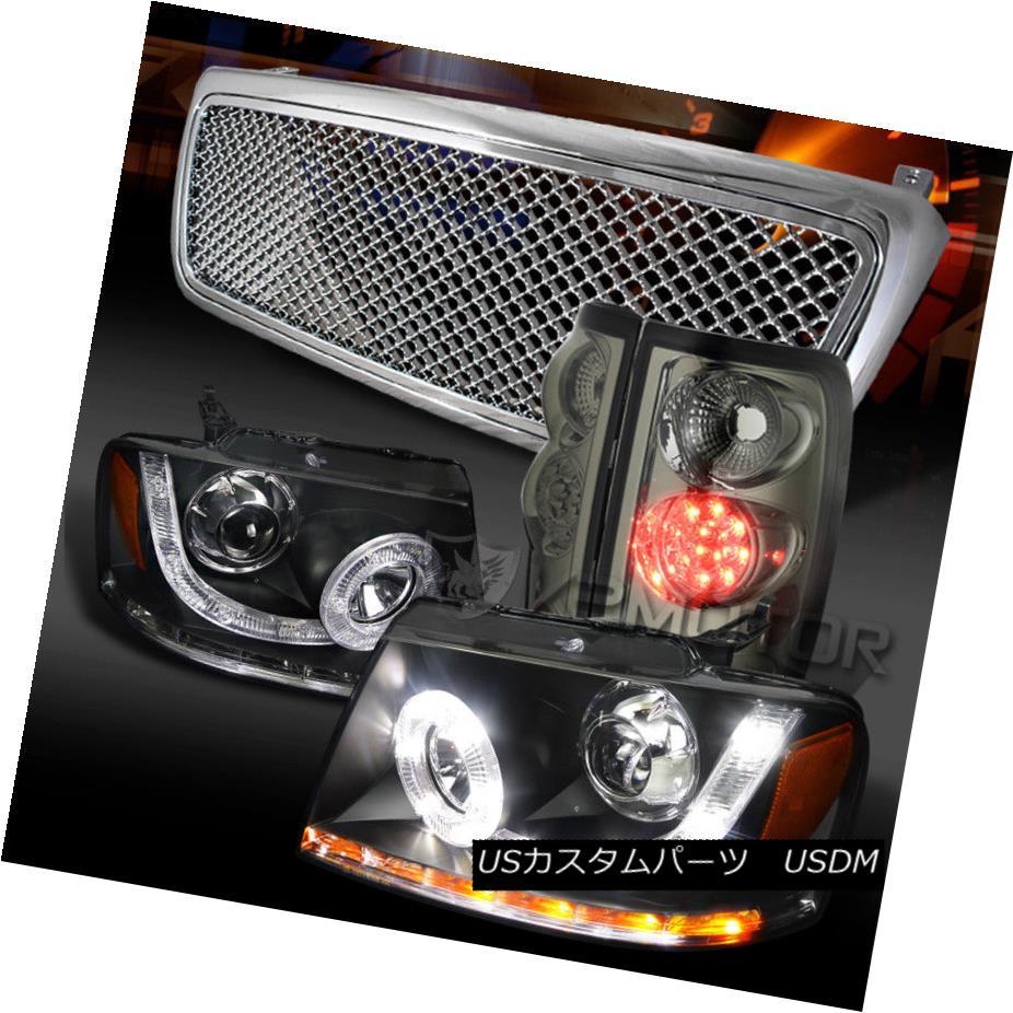 ヘッドライト 04-08 F150 Black SMD Projector Headlight+Tinted LED Tail Lamp+Chrome Mesh Grille 04-08 F150ブラックSMDプロジェクターヘッドライト+ティント ed LEDテールランプ+クロムメッシュグリル