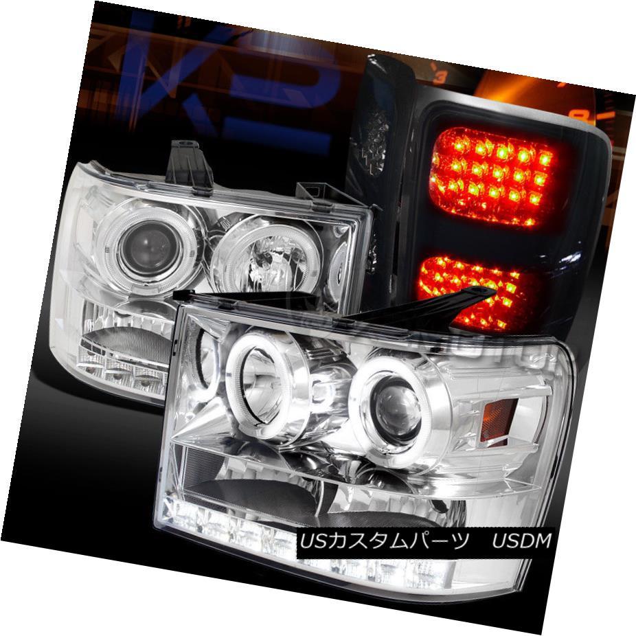 ヘッドライト 07-14 GMC Sierra Chrome Halo Projector Headlights+Glossy Black LED Tail Lamps 07-14 GMCシエラクロームハロープロジェクターヘッドライト+グロー ssyブラックLEDテールランプ
