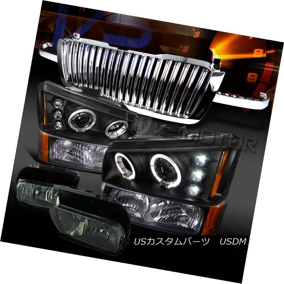 ヘッドライト 03-05 Silverado Black Halo Projector Head Bumper Lamps+Grille+Smoke Fog Lamps 03-05 Silverado Black Haloプロジェクターヘッドバンパーランプ+グリル+ S  mokeフォグランプ