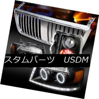 ヘッドライト 04-08 F150 Black Halo DRL Projector Headlights+LED Tail Lamps+Chrome Grille 04-08 F150ブラックHalo DRLプロジェクターヘッドライト+ LEDテールランプ+クロームグリル
