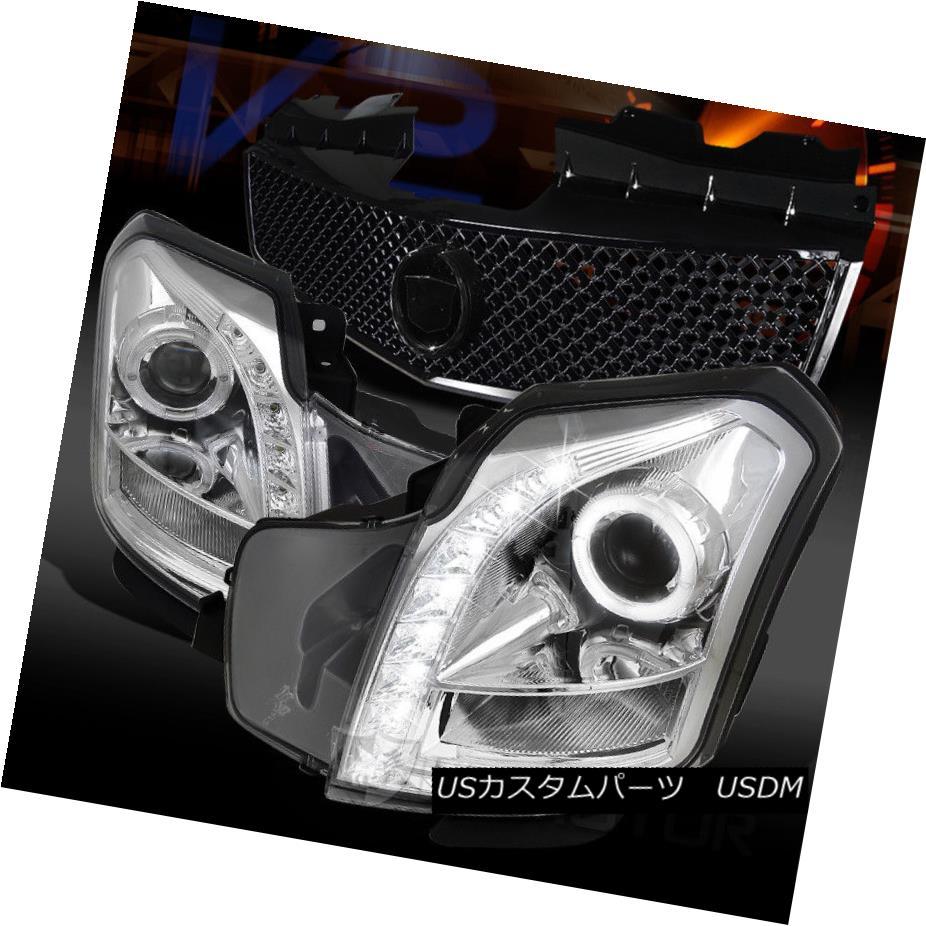 ヘッドライト 03-07 Cadillac CTS Chrome SMD LED Projector Headlights+Black Hood Mesh Grille 03-07キャデラックCTSクロムSMD LEDプロジェクターヘッドライト+ Bla  ckフードメッシュグリル